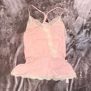 Light Pink Camisole Top With Lace Detail Size S